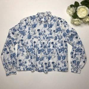 ZARA Trafaluc Collection Floral Top Size Small